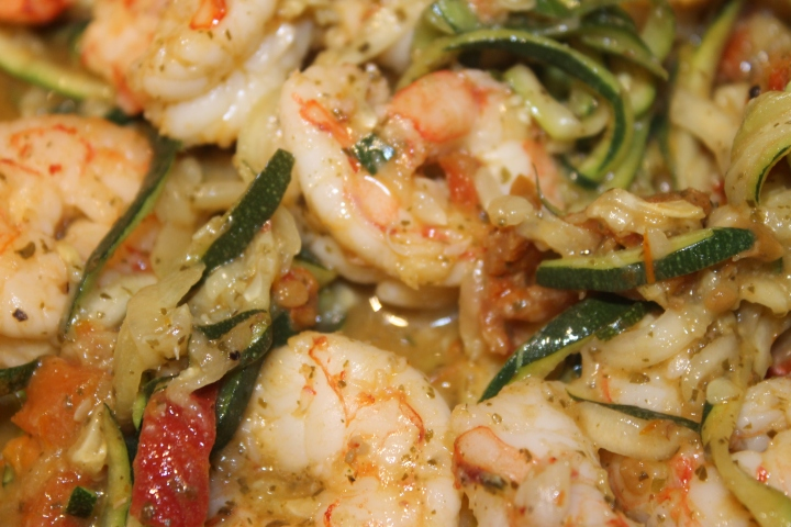 Healthy Zucchini Pesto Pasta with Shrimp